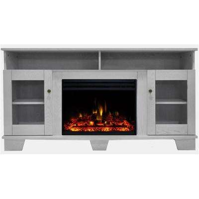 Savona 59 in. Electric Fireplace Heater TV Stand in White with Enhanced Log Display and Remote