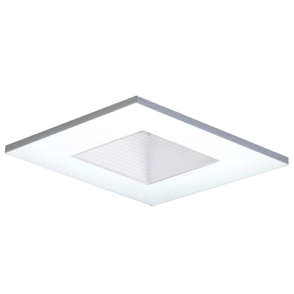 3 in. White Recessed Ceiling Light Square Adjustable Baffle Trim