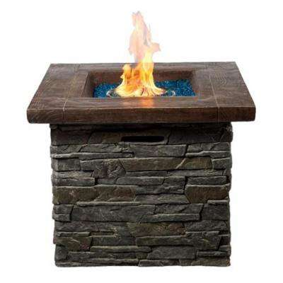 33 in. MGO Wood and Culture Stone Base Propane Fire Pit