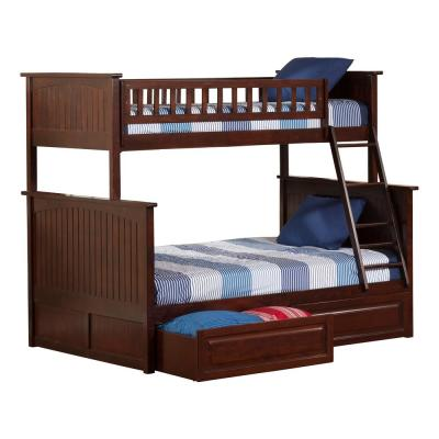 Nantucket Bunk Bed Twin over Full with 2 Raised Panel Bed Drawers in Walnut