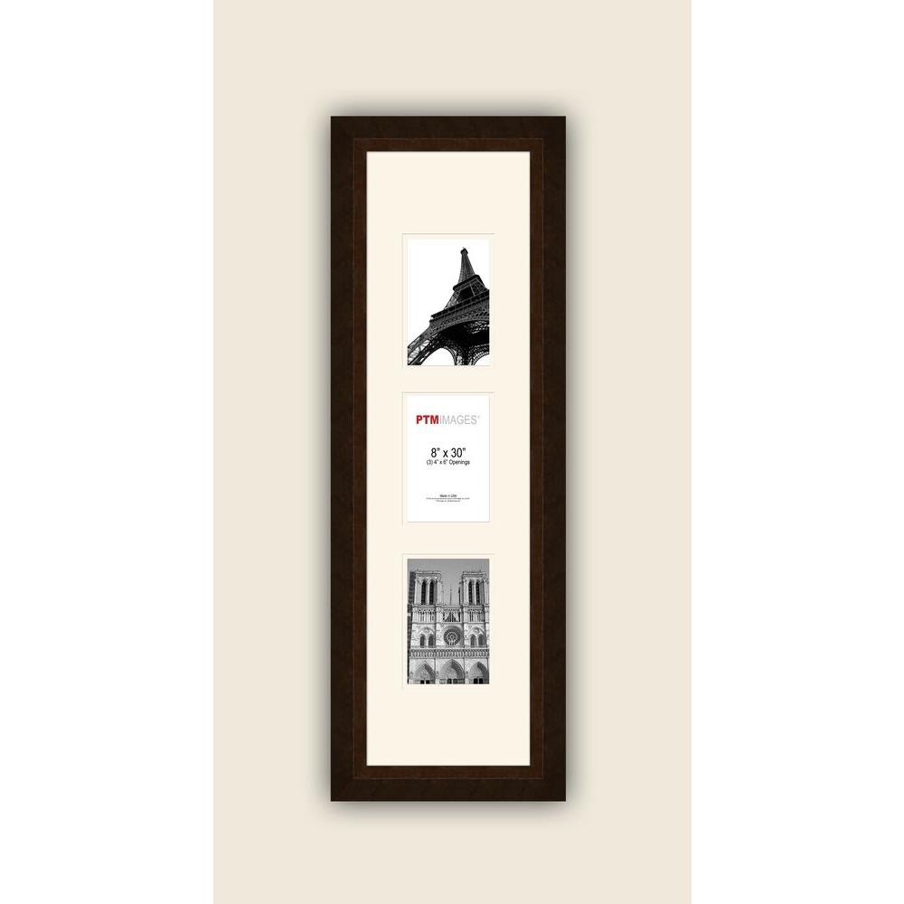 3-Opening Vertical 4 in. x 6 in. White Matted Bronze Photo