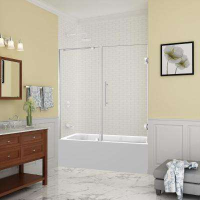 Belmore 59.25 in. to 60.25 in. x 60 in. Frameless Hinged Tub Door in Stainless Steel