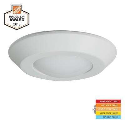 BLD 4 in. White Integrated LED Recessed Ceiling Mount Light Trim at Selectable CCT (2700K-5000K), Title 20 Compliant