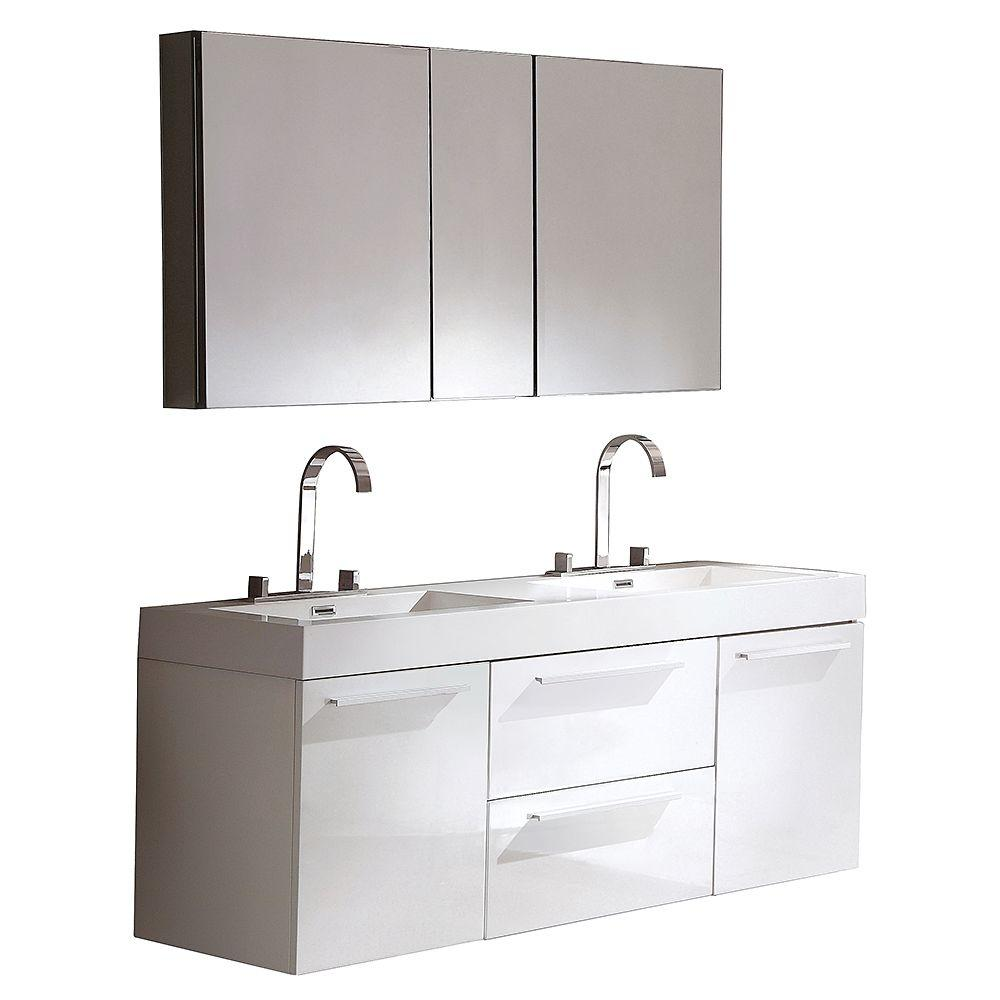 Fresca Opulento 54 in. Double Vanity in White with Acrylic Vanity Top in White and Medicine Cabinet