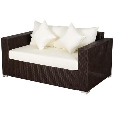 Plastic Wicker Rattan Outdoor Loveseat with White Cushions and 2 White Throw Pillows