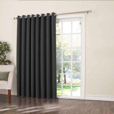 Semi-Opaque Black Gregory Room Darkening Grommet Top Patio Panel, 100 in. W x 84 in. L