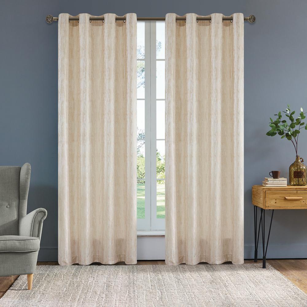 Serena 95 in. L x 54 in. W Semi-Opaque Room Darkening Polyester Curtain in Cream