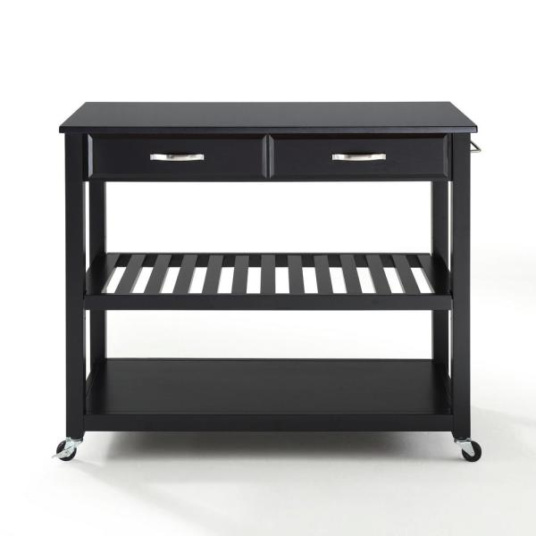Linon Home Decor Cameron Black Kitchen Cart With Storage