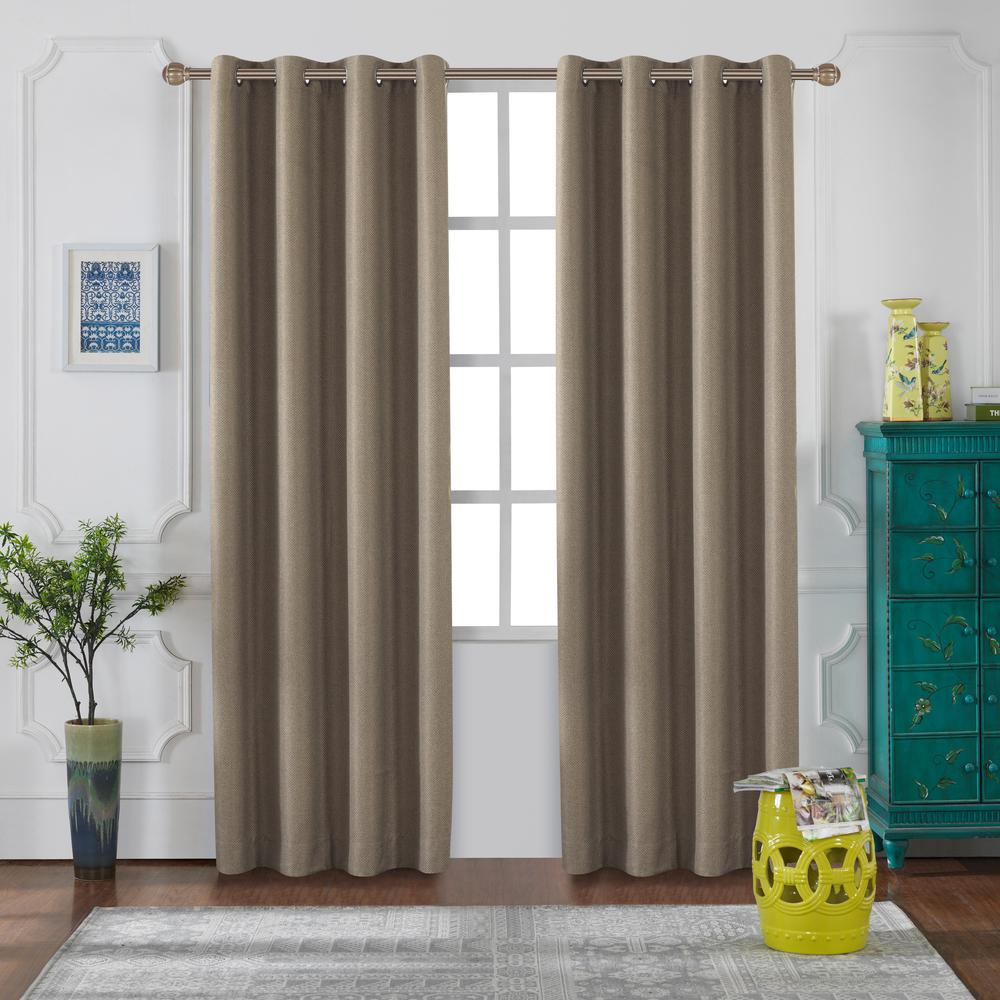 Lyndale Decor Venus Blackout Polyester Curtain in Biscuit - 84 in. L x 52 in. W