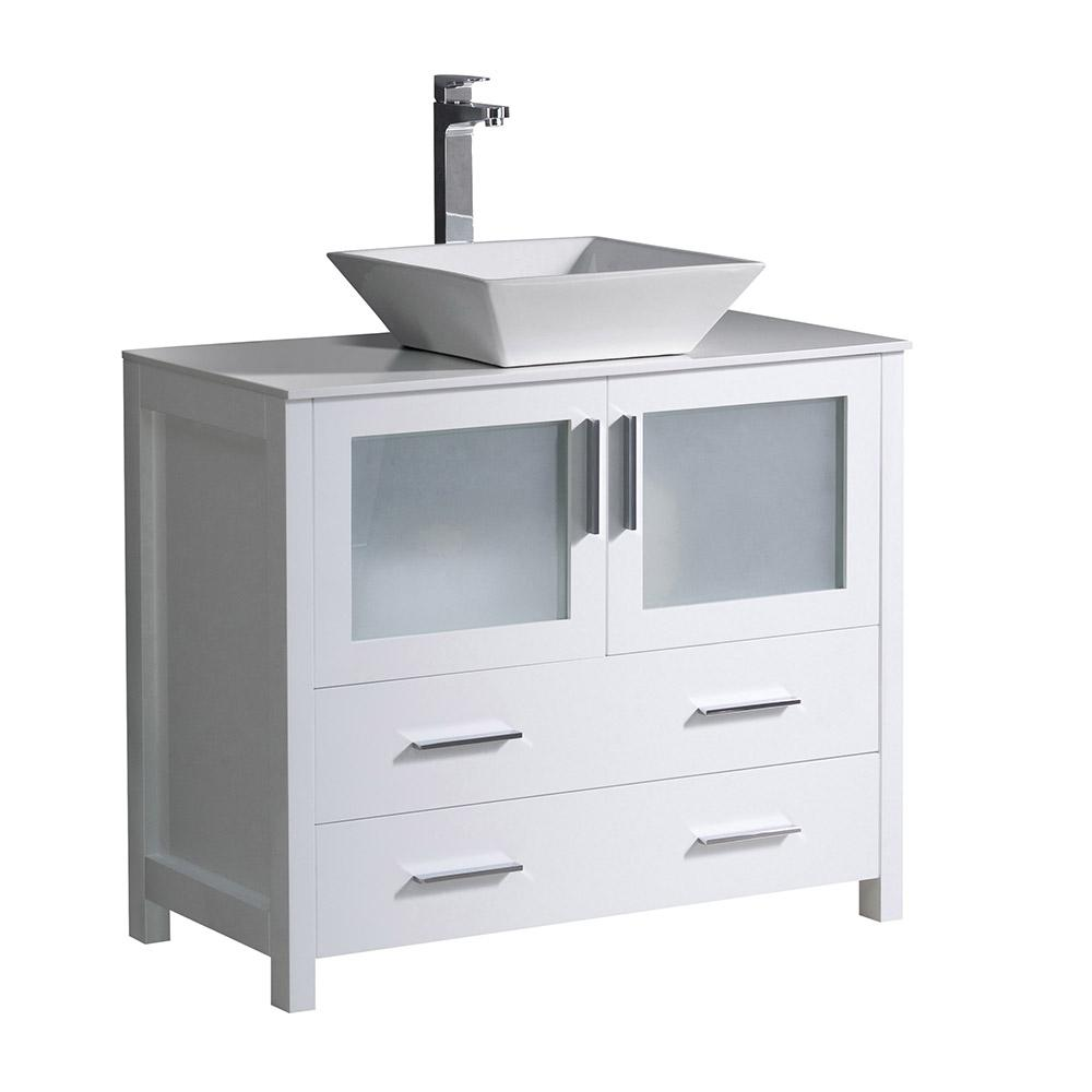 Fresca Torino 36 in. Bath Vanity in White with Glass Stone Vanity Top in White with White Basin