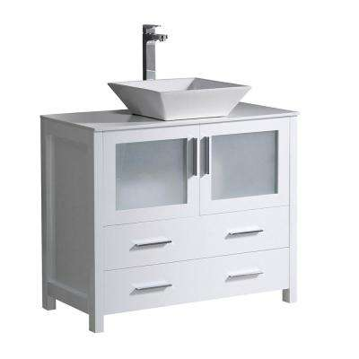 Torino 36 in. Bath Vanity in White with Glass Stone Vanity Top in White with White Basin