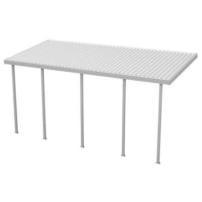 22 ft. x 10 ft. White Aluminum Attached Solid Patio Cover with 5 Posts (10 lbs. Live Load)