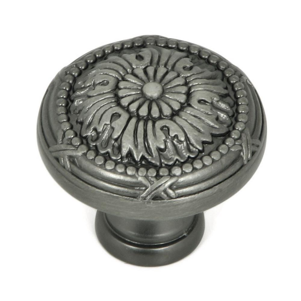 Stone Mill Hardware 1-1/4 in. Weathered Nickel Floral Cabinet Knob ...