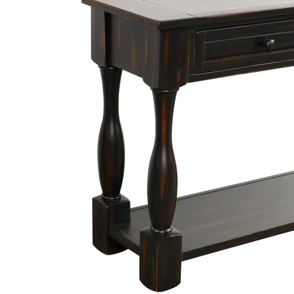 Harper Bright Designs 65 In Black Standard Rectangle Wood Console Table With Drawers Wf193795aab The Home Depot