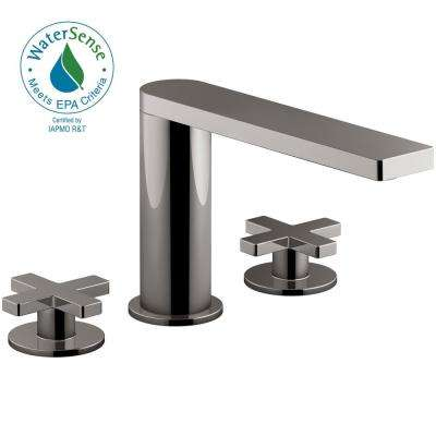Composed 8 in. Widespread 2-Handle Cross Handle Bathroom Faucet with Drain in Titanium