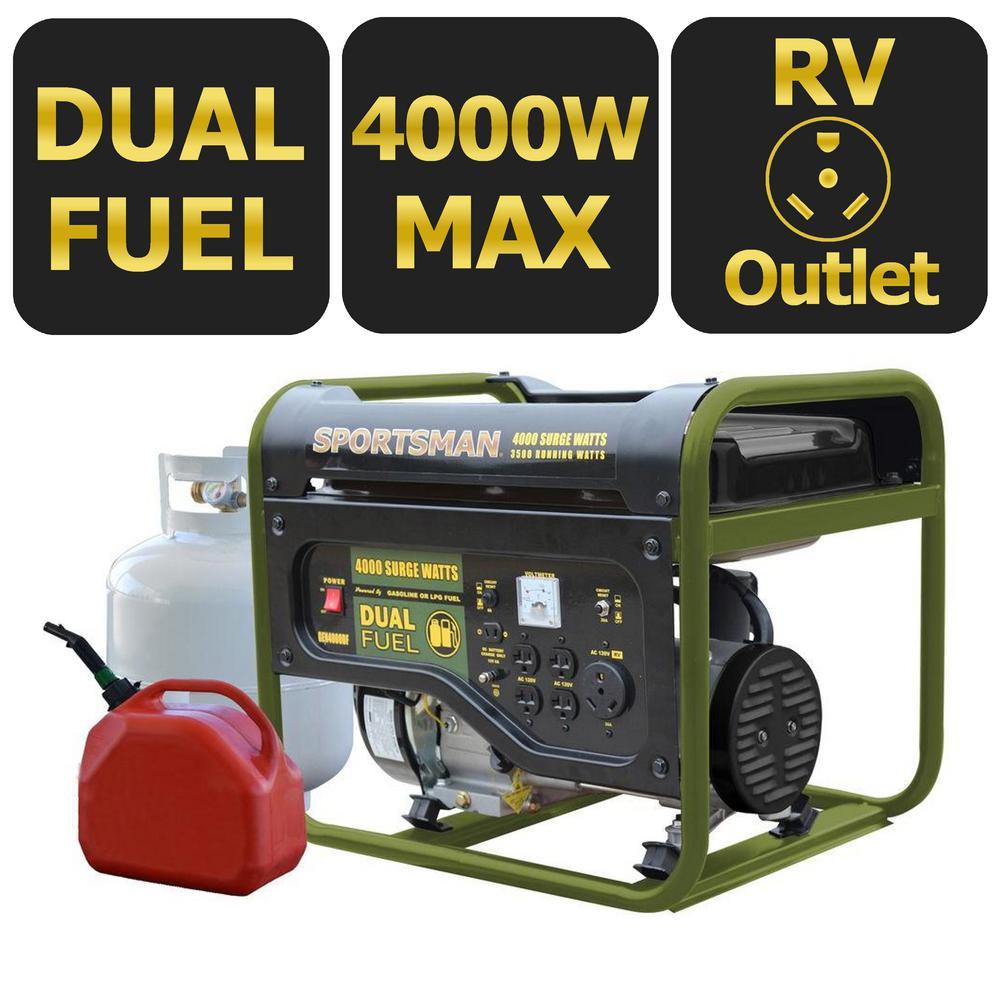 4,000-Watt Dual Fuel Powered Portable Generator, Runs on LPG or Regular Gasoline, 50 State Compliant