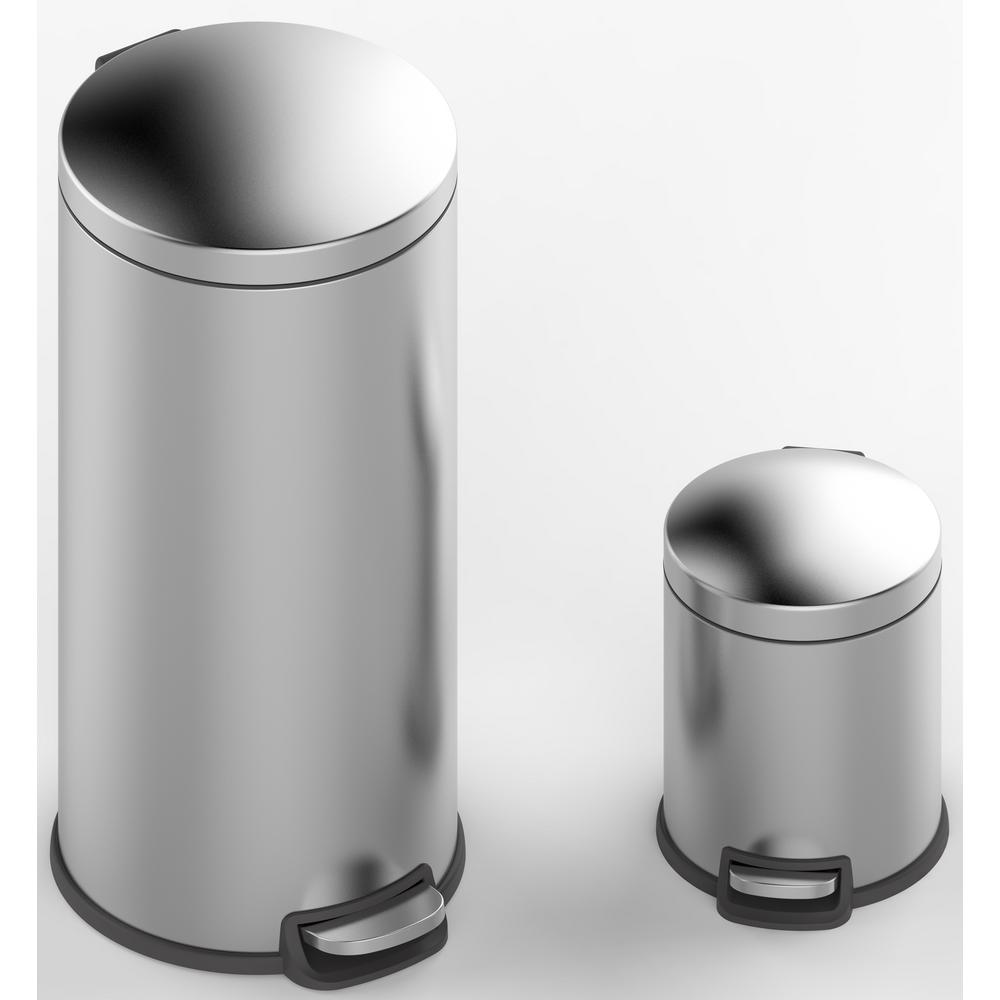 5L Innovaze Stainless Steel Retro Round Step Trash Can Bin w// Inner Buck 30L