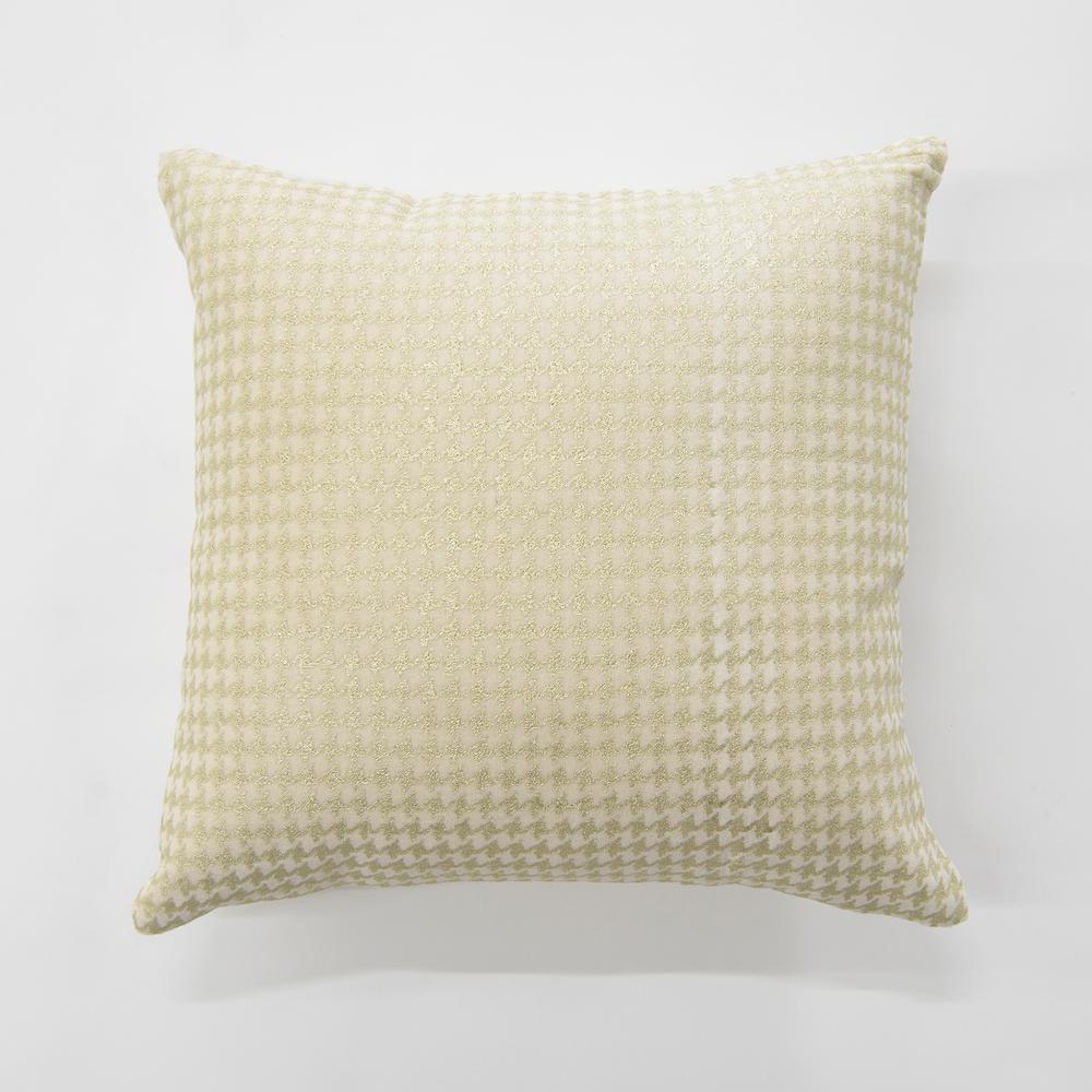 Small Metallic Houndstooth Cream Velvet Pillow