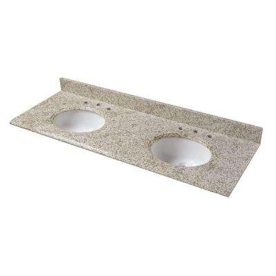 61 in. Granite Double Basin Vanity Top in Golden Hill with White Basins