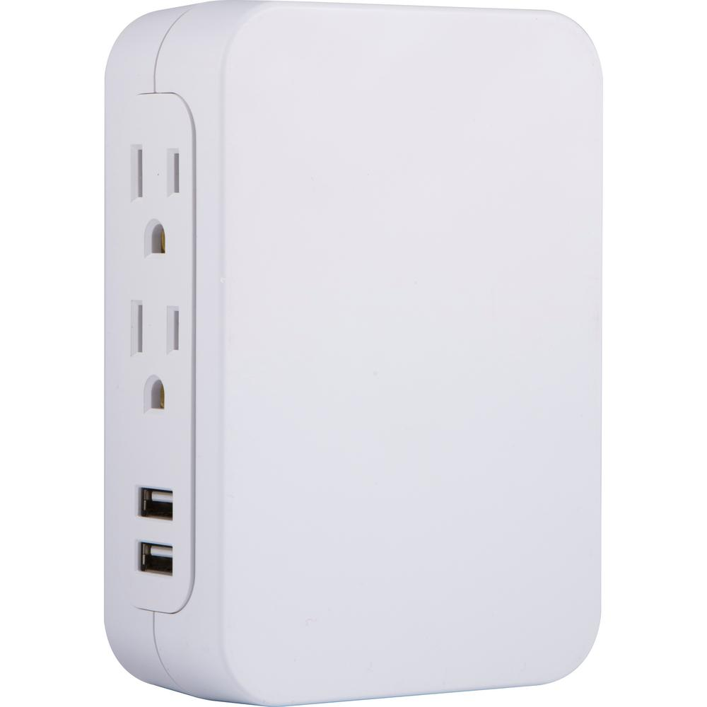 Side Access 5-Outlet 2 USB Pro Surge Protector Tap, White
