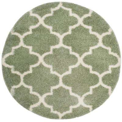Montreal Shag Sage/Ivory 6 ft. 7 in. x 6 ft. 7 in. Round Area Rug