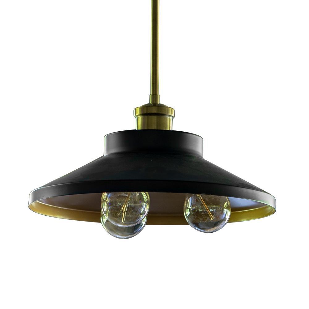 Forrest Farmhouse 3-Light Black and Gold Pendant