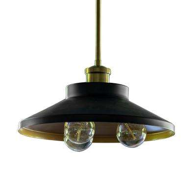 Forrest Farmhouse 3-Light Black and Gold Pendant