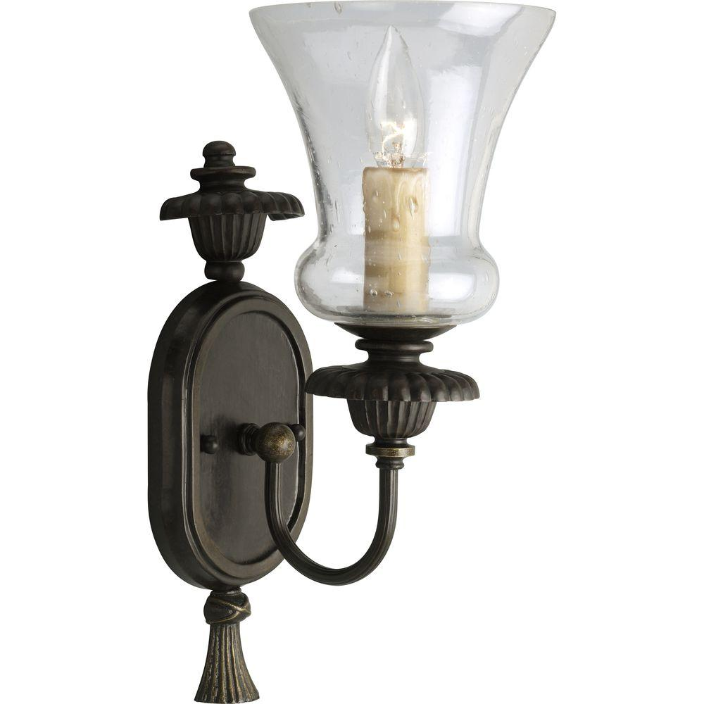 Progress Lighting Fiorentino Collection 1-Light Forged Bronze Wall Sconce with Clear Seeded Glass  sc 1 st  The Home Depot & Progress Lighting Fiorentino Collection 1-Light Forged Bronze Wall ... azcodes.com