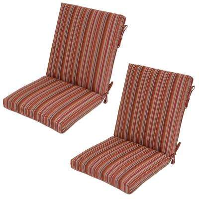 Dragonfruit Stripe Outdoor Dining Chair Cushion (2-Pack)