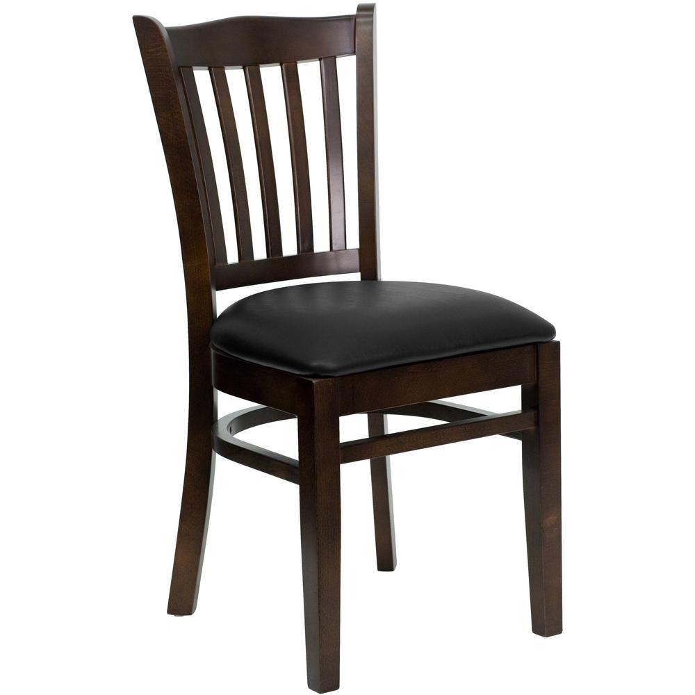 Hercules Series Walnut Vertical Slat Back Wooden Restaurant Chair with Black Vinyl Seat