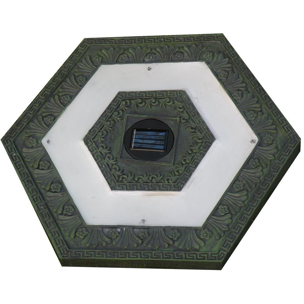 Homebrite solar 4 light solar green outdoor led hexagon for Solar powered glow stepping stones