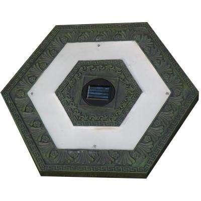 4-Light Solar Green Outdoor LED Hexagon Stepping Stone Light (3-Pack)