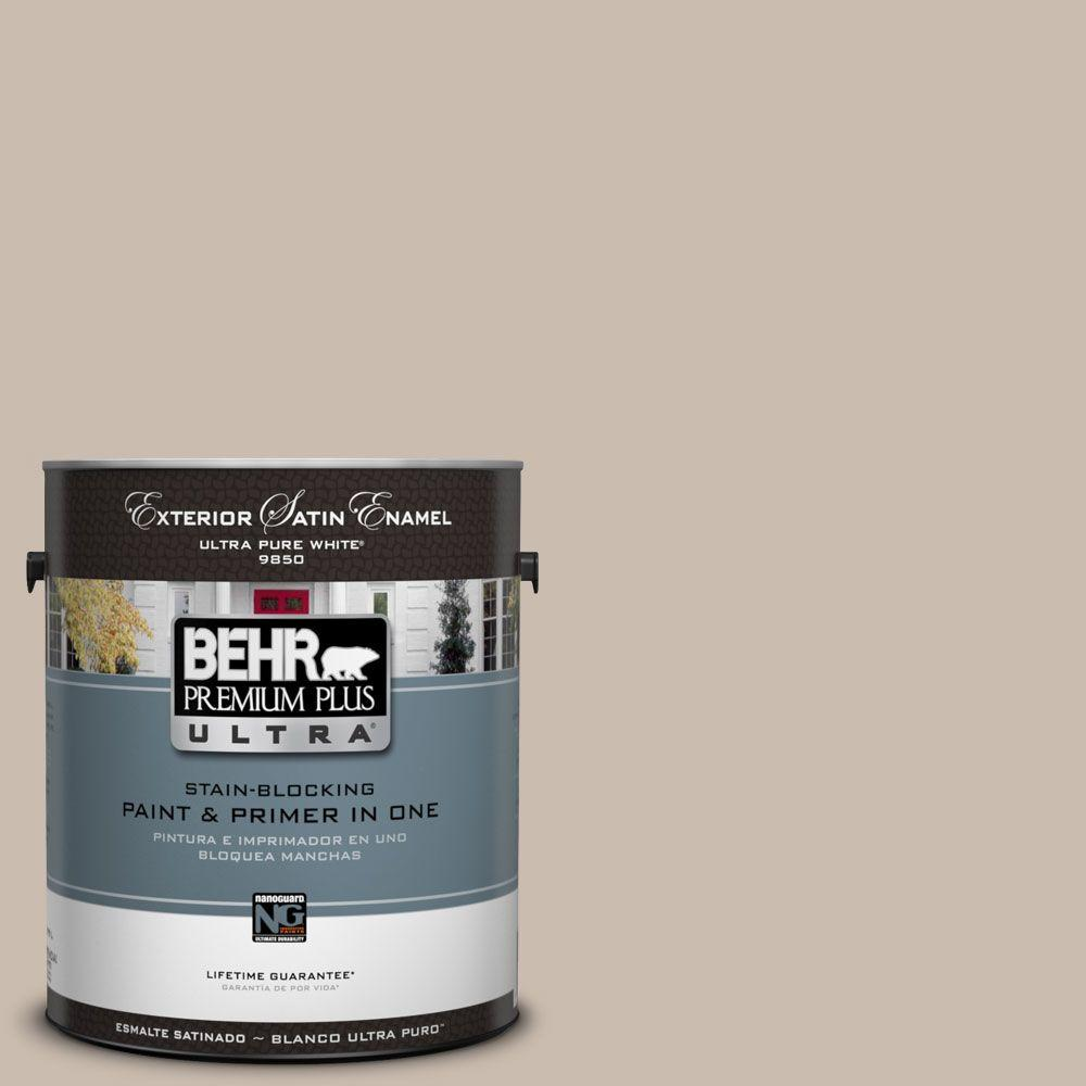 BEHR Premium Plus Ultra 1-Gal. #UL130-15 Creamy Mushroom Satin Enamel Exterior Paint