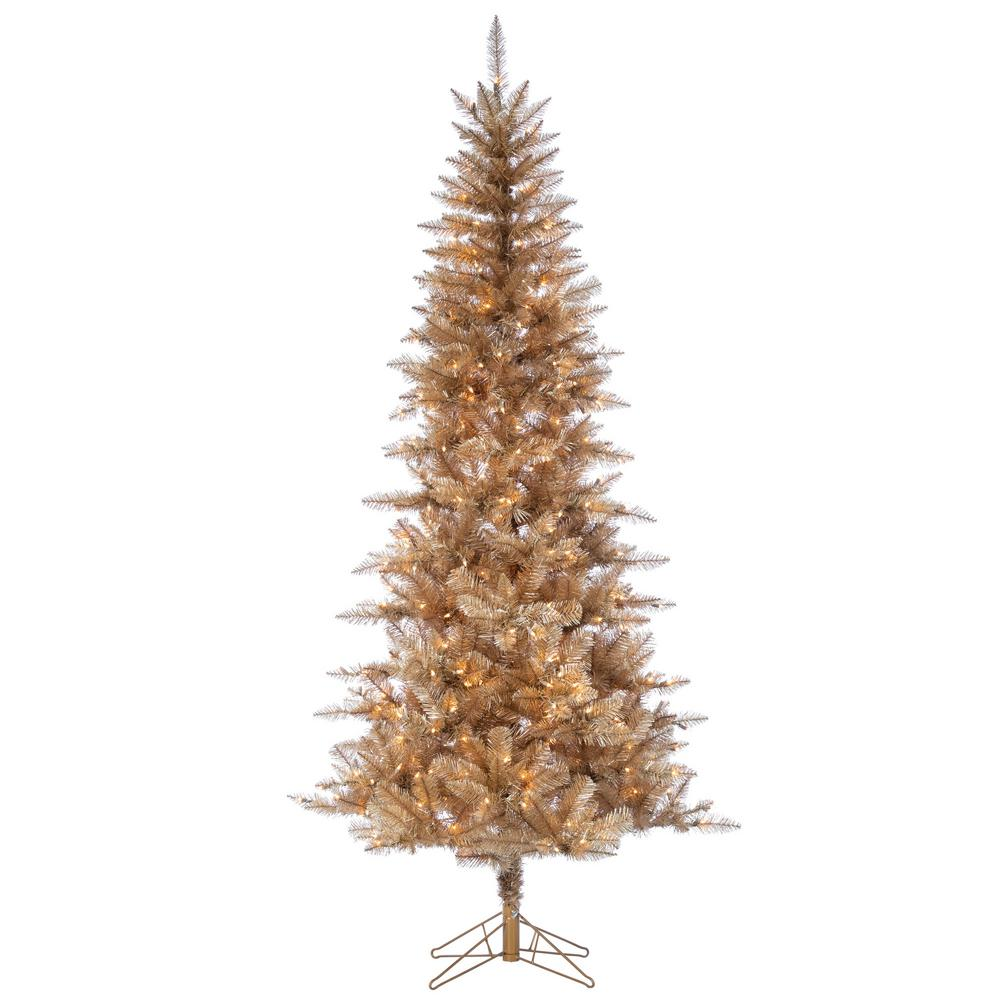 best website bc45f 6766d Sterling 7.5 ft. H Rose Gold Tuscan Tinsel Tree