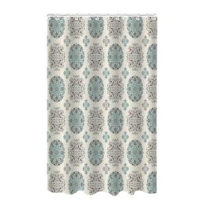 Bath Bliss Dobie 72 inch Multi-Colored Shower Curtain Meddalion Design with Hooks by Bath Bliss
