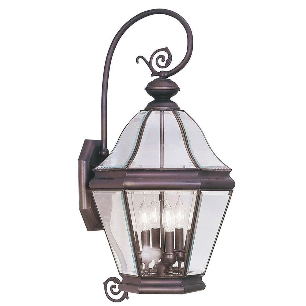 Livex Lighting Providence Wall-Mount 4-Light Outdoor Bronze Incandescent Lantern