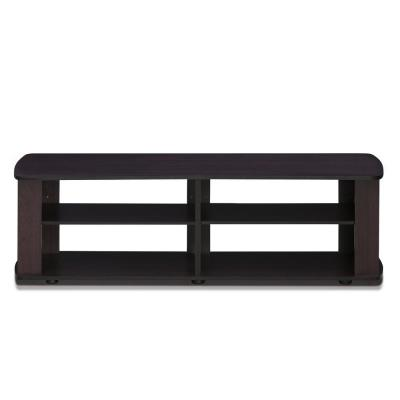 THE 43 in. Dark Walnut Particle Board TV Stand Fits TVs Up to 42 in. with Open Storage