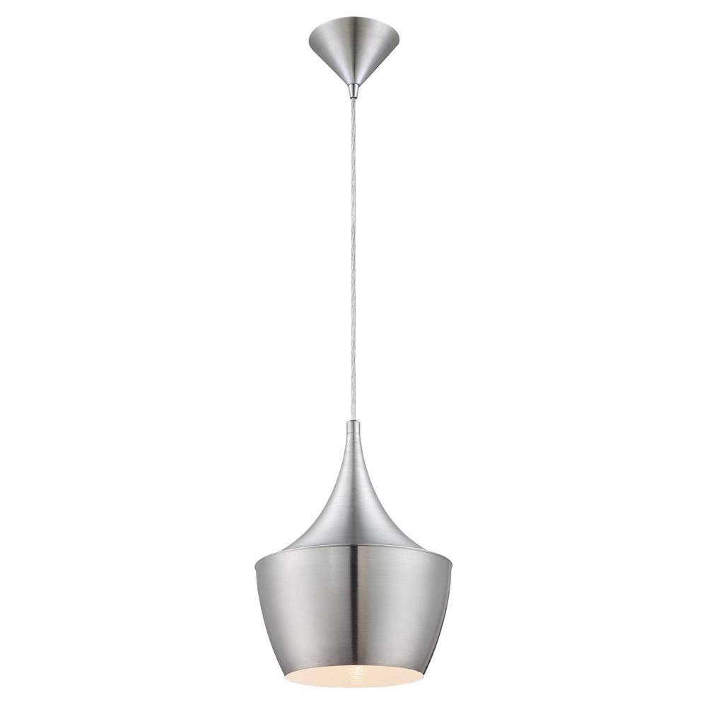Home Decorators Collection 1-Light Brushed Aluminum Pendant with Metal Shade-20438-HBU - The Home Depot  sc 1 st  The Home Depot & Home Decorators Collection 1-Light Brushed Aluminum Pendant with ... azcodes.com
