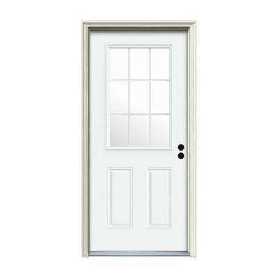 34 in. x 80 in. 9 Lite White Painted Steel Prehung Left-Hand Inswing Front Door w/Brickmould