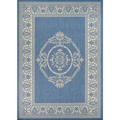Recife Antique Medallion Champagne-Blue 6 ft. x 9 ft. Indoor/Outdoor Area Rug