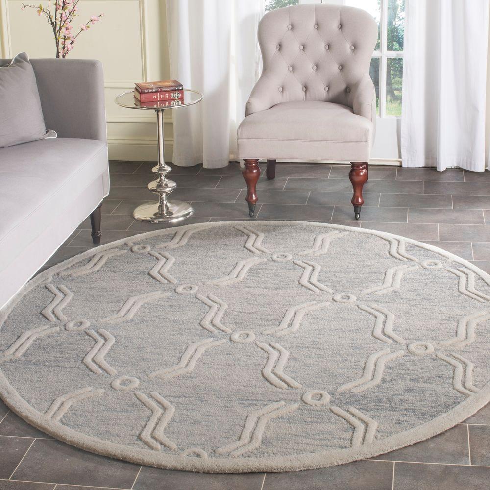 Grey Foyer Rug : Safavieh cambridge light gray ivory ft round