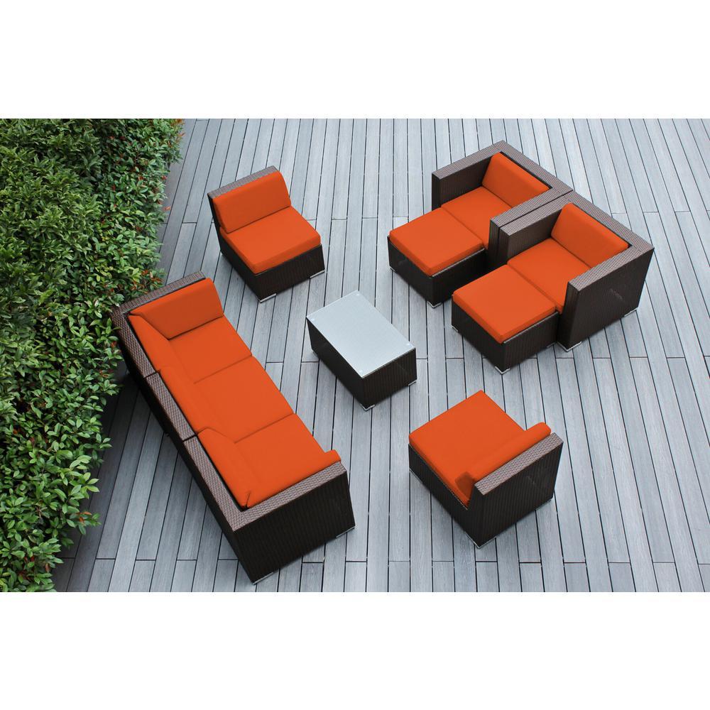 Ohana Dark Brown 10-Piece Wicker Patio Seating Set with Supercrylic Orange Cushions