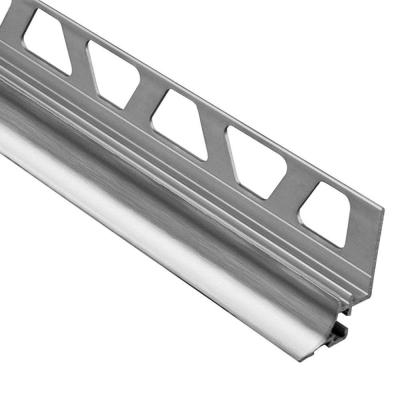 Dilex-AHKA Brushed Chrome Anodized Aluminum 3/8 in. x 8 ft. 2-1/2 in. Metal Cove-Shaped Tile Edging Trim