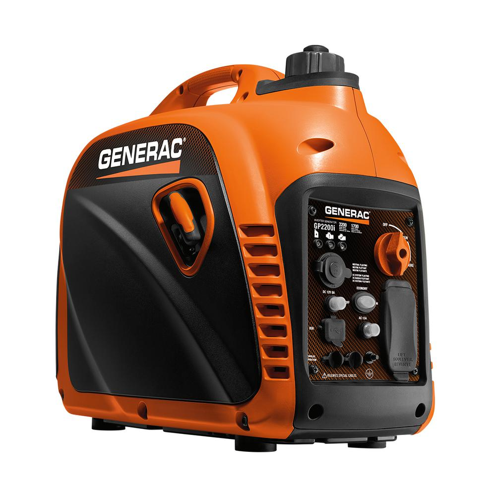 Generac GP2200i - 2200-Watt Gasoline Powered Recoil Started ...
