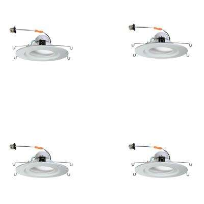 5 in. and 6 in. White Integrated LED Diffusion Recessed Trim with E26 Connector (4-Pack)