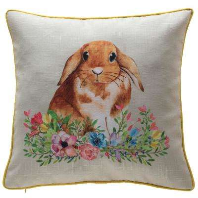 18 in. Easter Floral Bunny Pillow