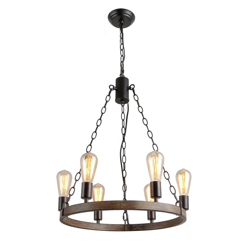 Lnc sombre 6 light black wagon wheel chandelier