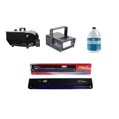 Fog Machine plus Fog Smoke Juice plus Mini Strobe Light plus Black Light Tube
