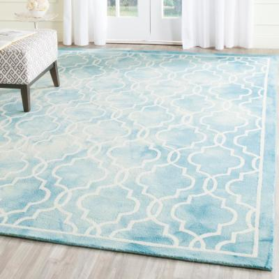 Dip Dye Turquoise/Ivory 9 ft. x 12 ft. Area Rug