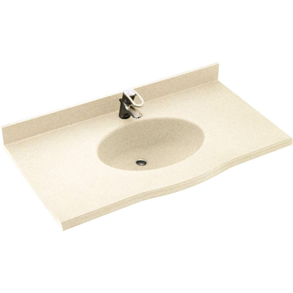 Swan Europa 49 in. W x 22-1/2 in. D x 11-38 in. H Solid-Surface Vanity Top in Pebble with Pebble Basin